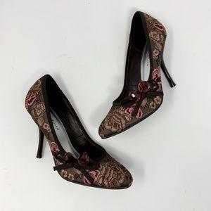 Karen Millen Floral Embroidered Brown Pink Heels